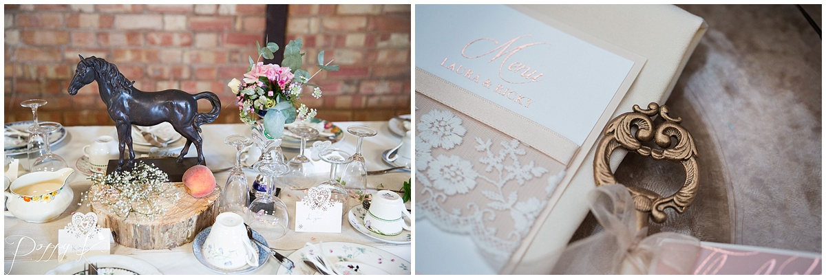 Wedding table centre pieces and menu from Lacey Lockets