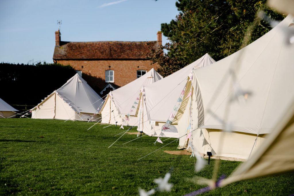 Bell tents for the guests at a wedding