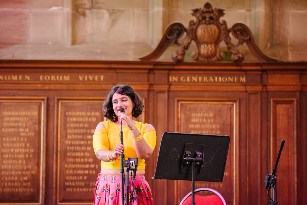 Girl singing at wedding breakfast