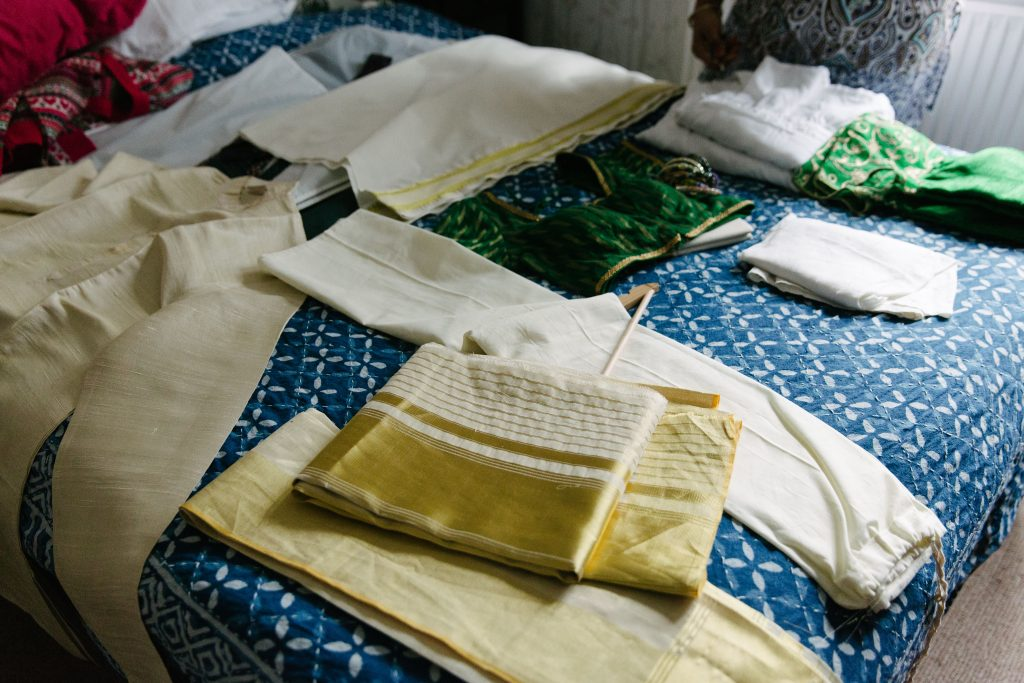 indian wedding dress laid out