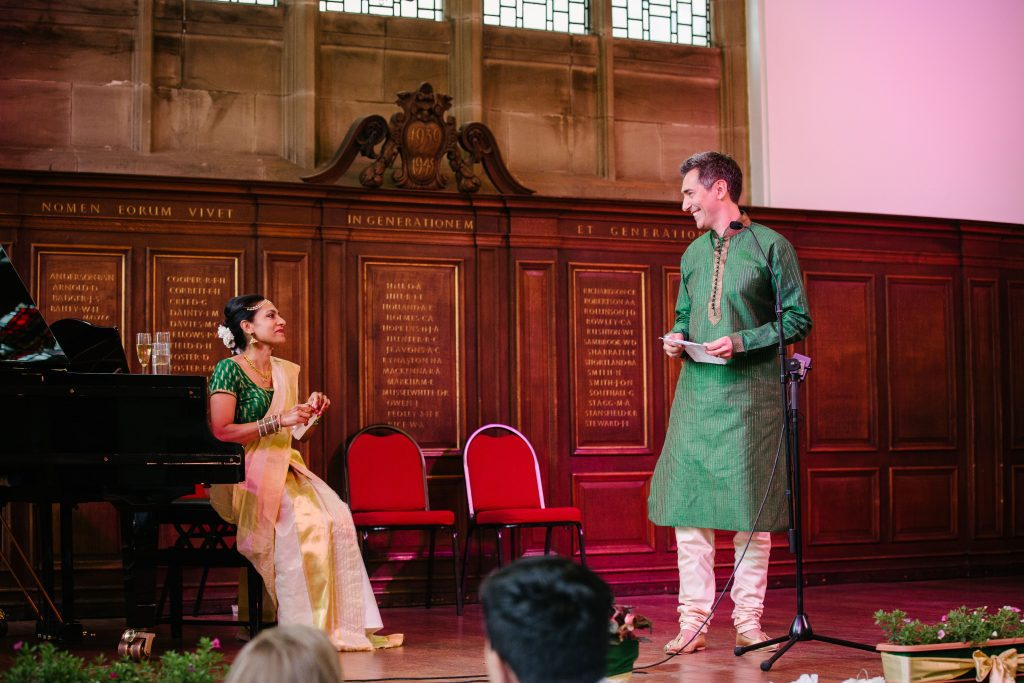Groom giving a speech, wedding breakfast, Wolverhampton Grammar school