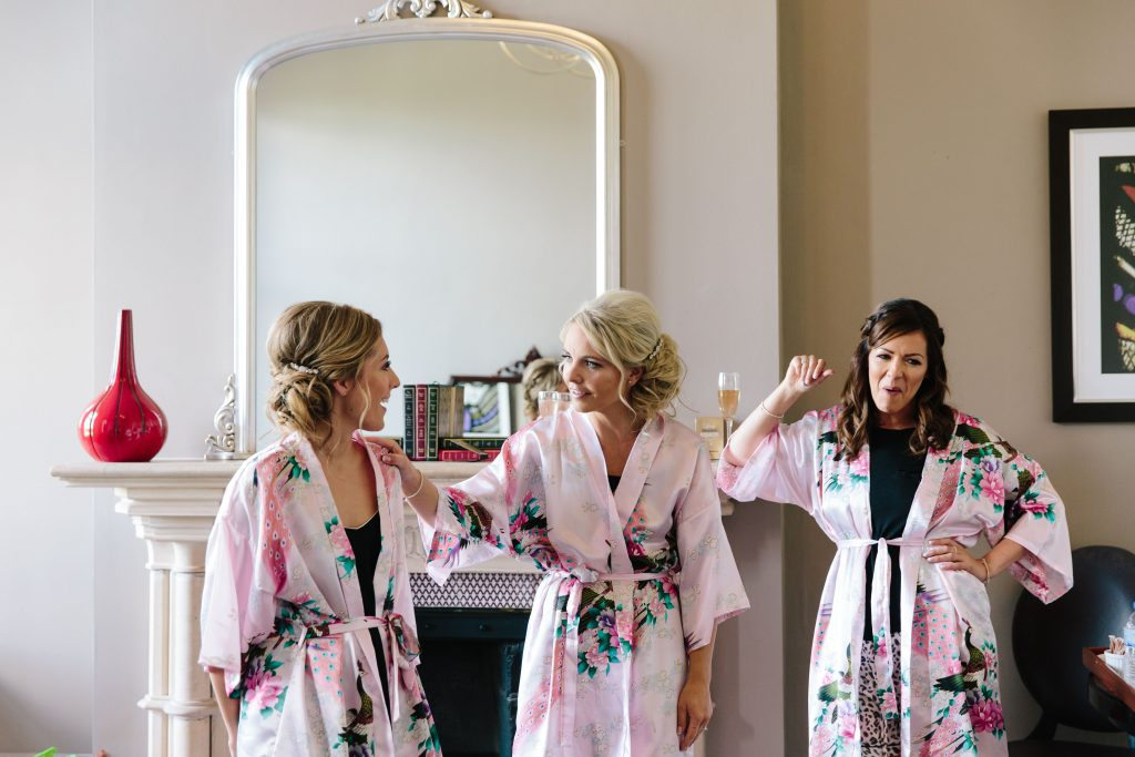 Bridesmaids getting ready for wedding at Walton Hall