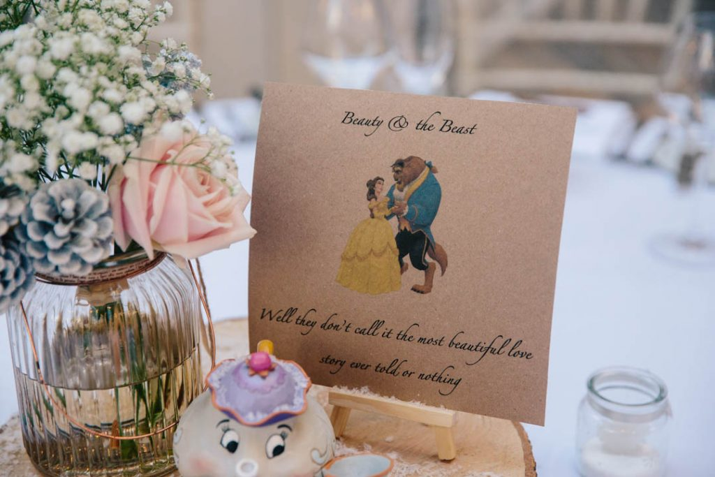 Beauty & the Beast quote, wedding centrepiece
