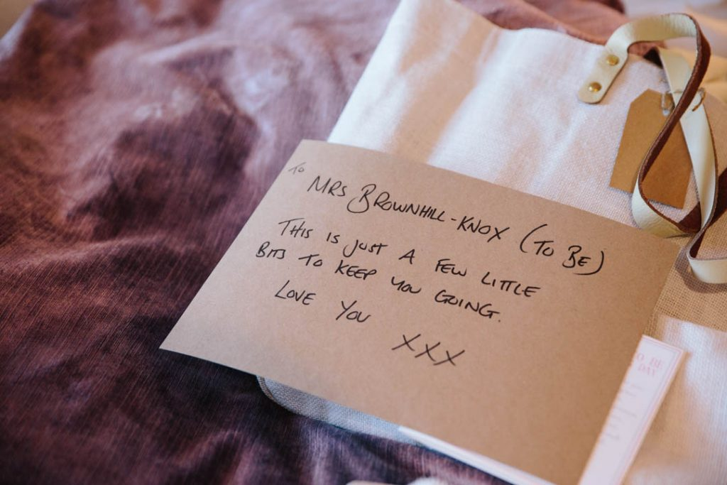A note left for the Bride with a present on the wedding morning