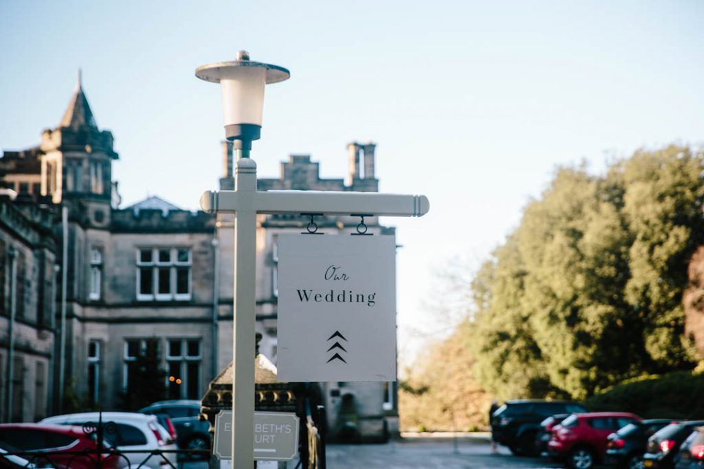 Our wedding sign at Hampton Manor
