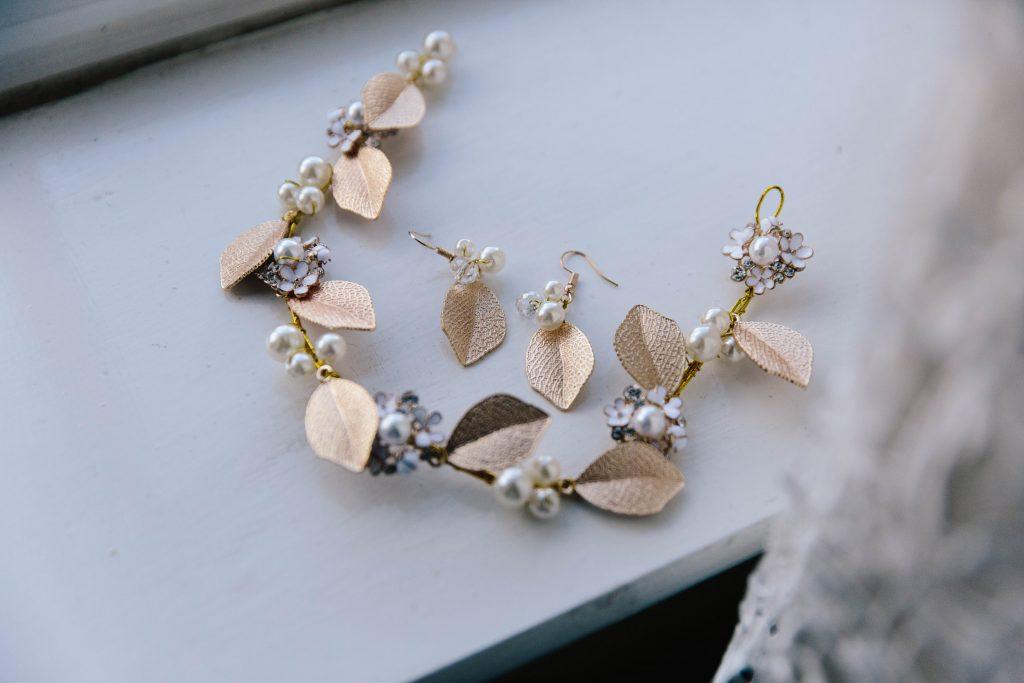 Gold leaf tiara and earrings