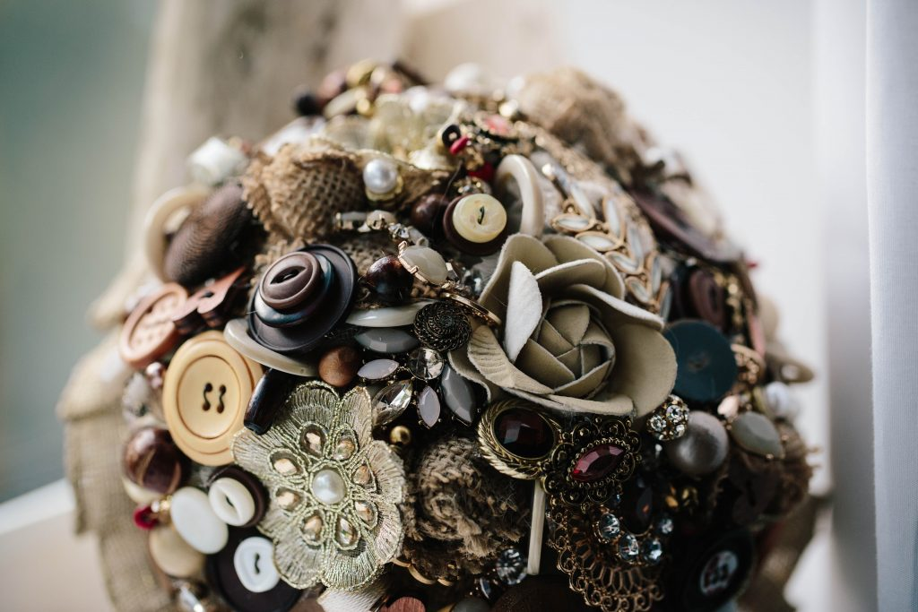 bridal bouquet made from buttons