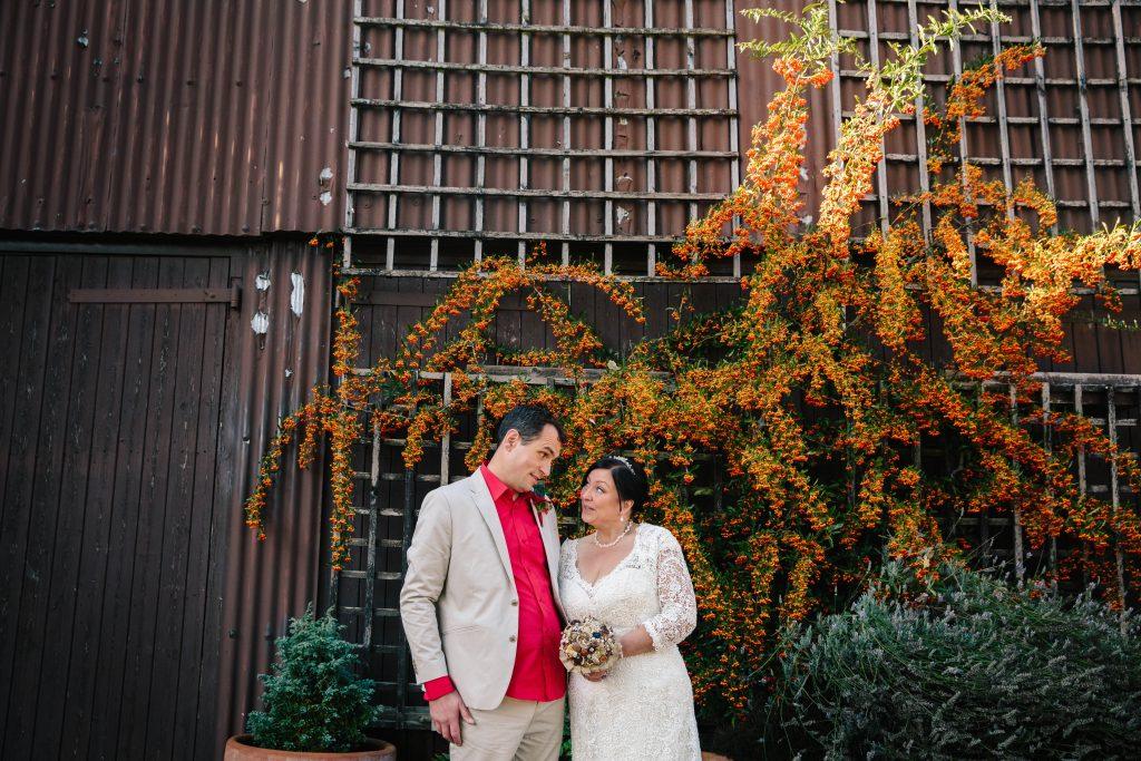 Bride & Groom at Dovecote Barn