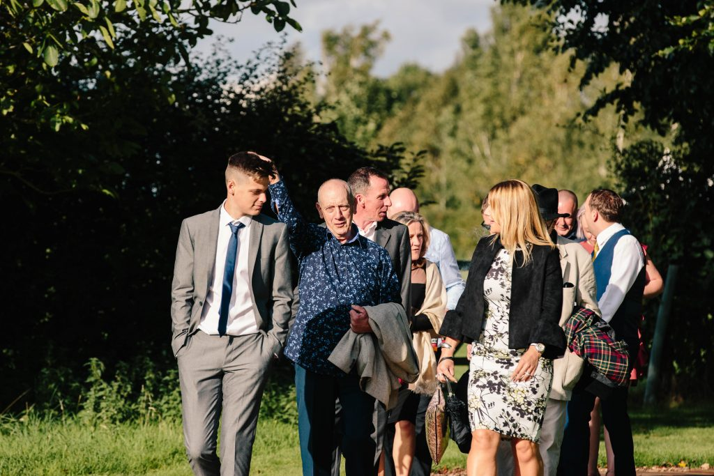guests walking to the tipi at dovecote Barn