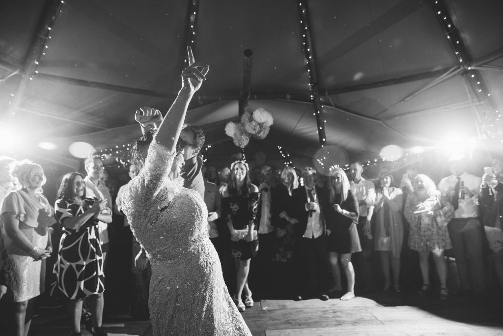 Bride & Groom dancing first dance at Dovecote Barn