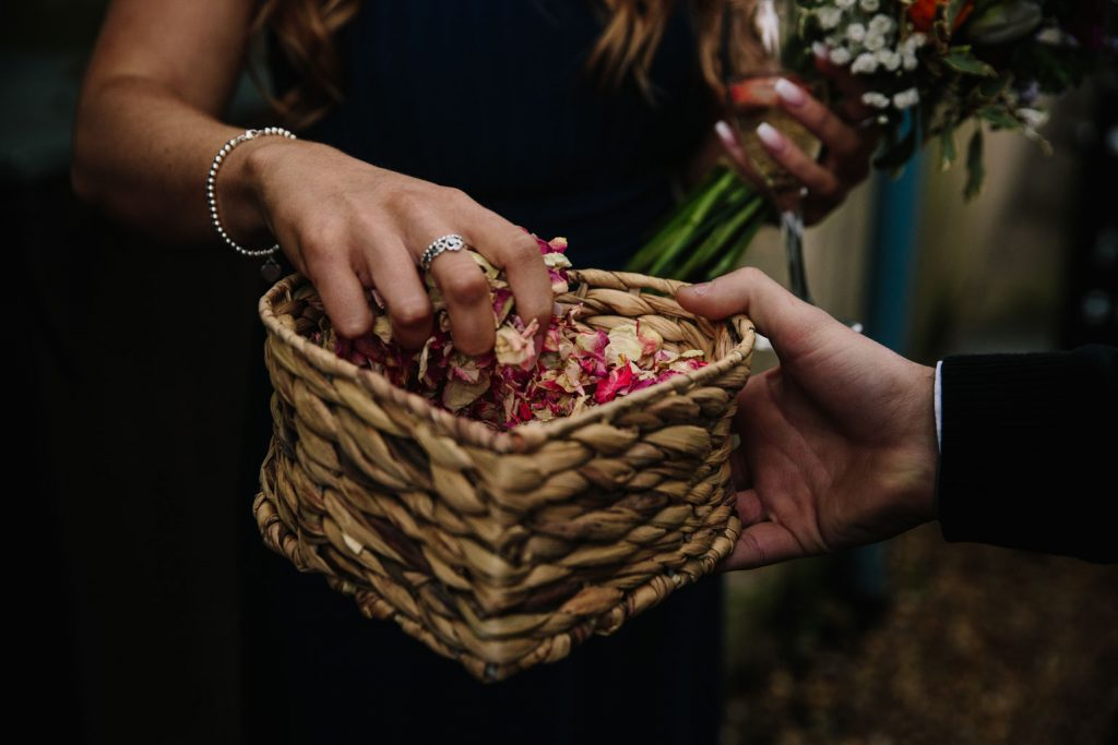 Basket of confetti, Saxon Mill wedding
