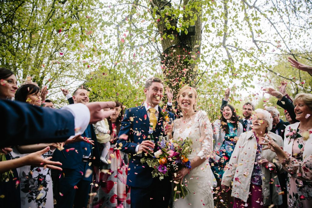 confetti shot, bride & Groom, Saxon Mill, Warwickshire