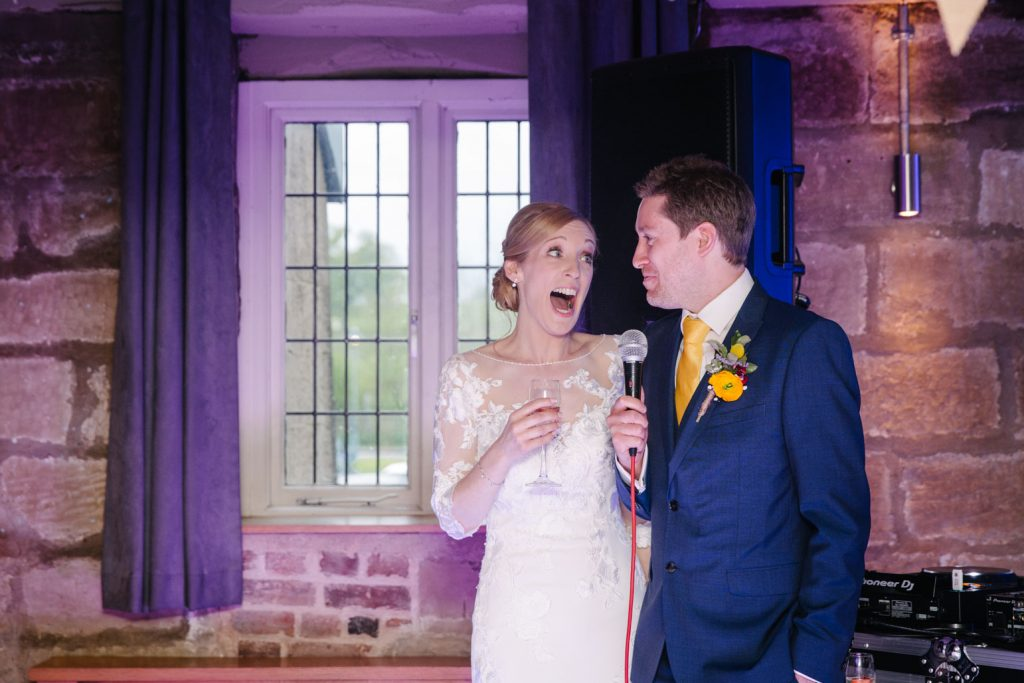 Bride and groom , wedding speech, Saxon Mill