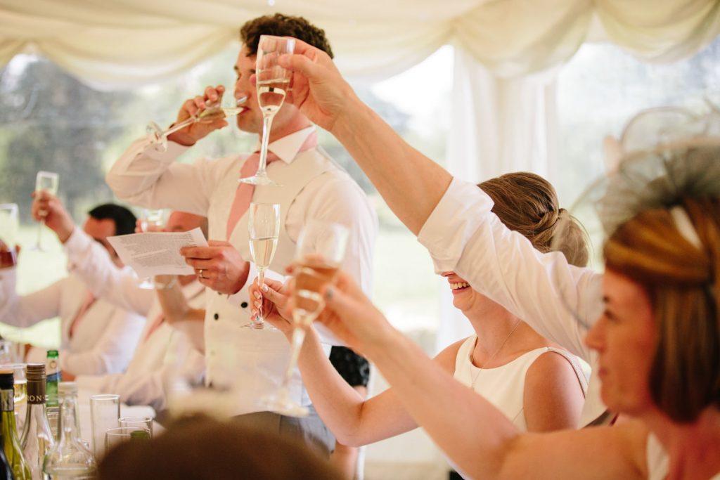 Wedding toast during speeches