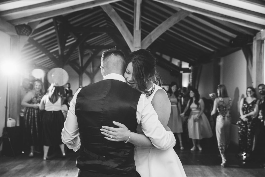 Bride & Groom dancing their first dance at Dodford Manor wedding
