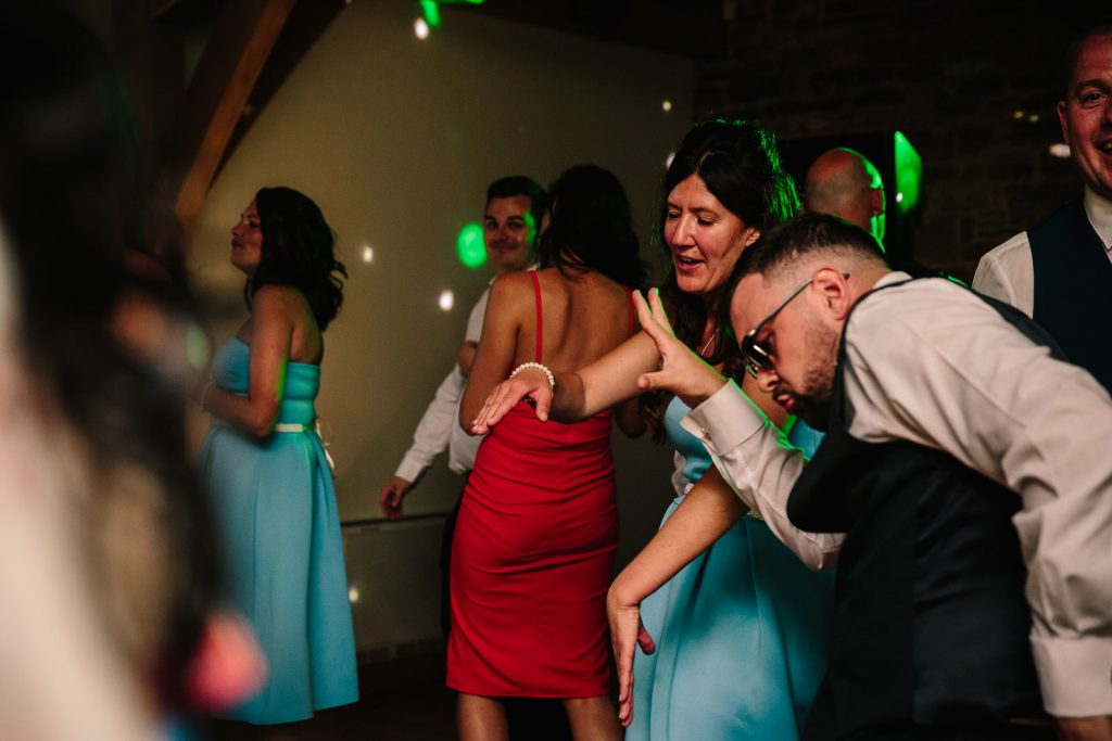 wedding guests dancing at dodford manor