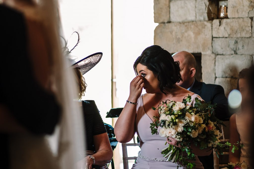 bridesmaid crying during wedding ceremony at blackwell grange