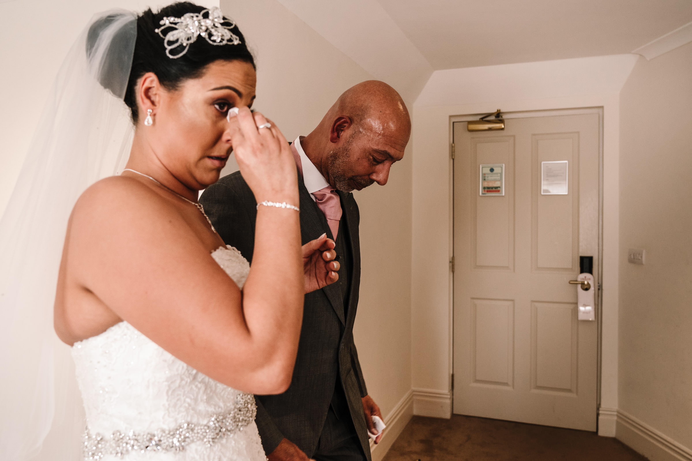 Bride and Dad emotional before wedding at Nailcote hall