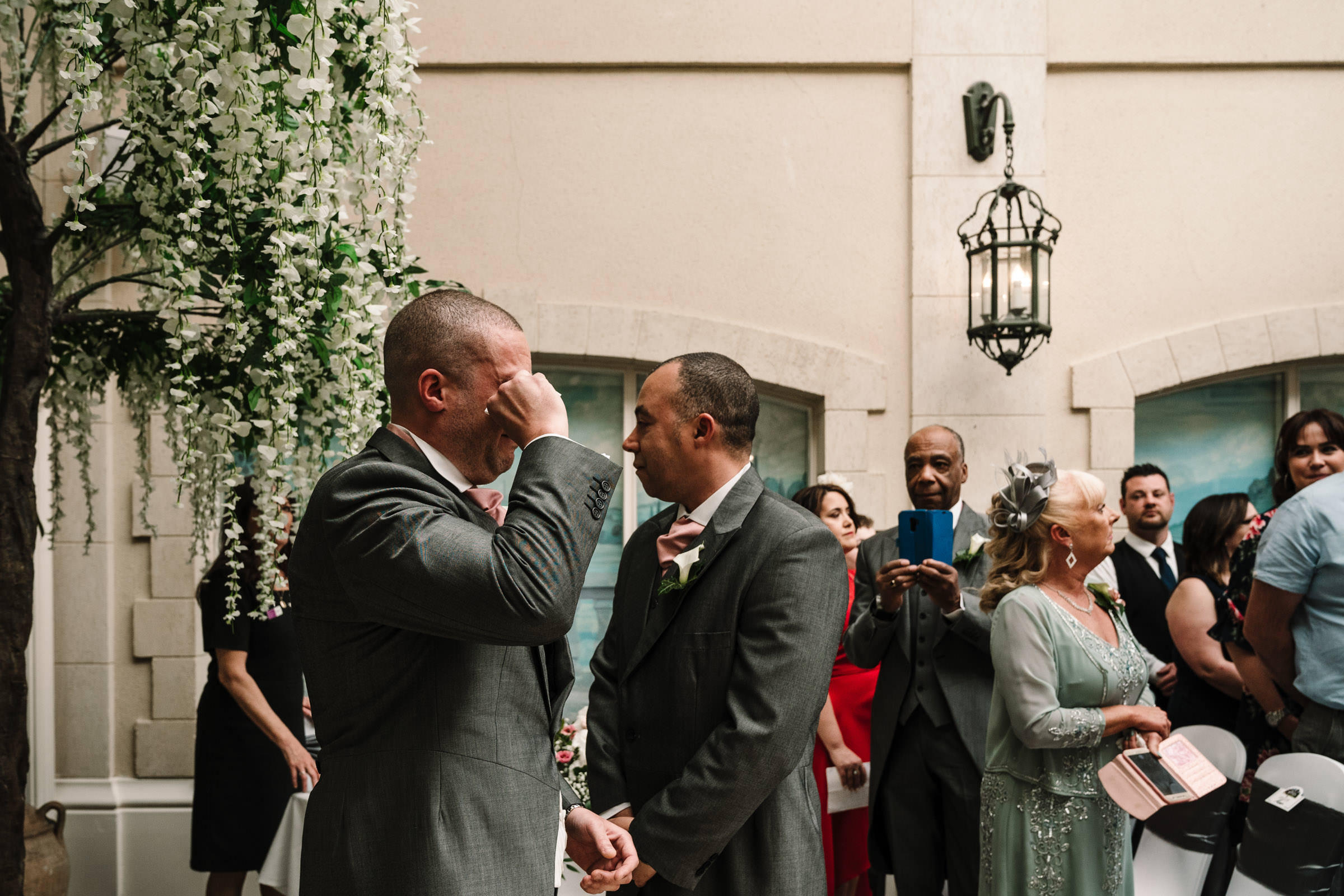 Groom getting emotional at Nailcote hall wedding ceremony