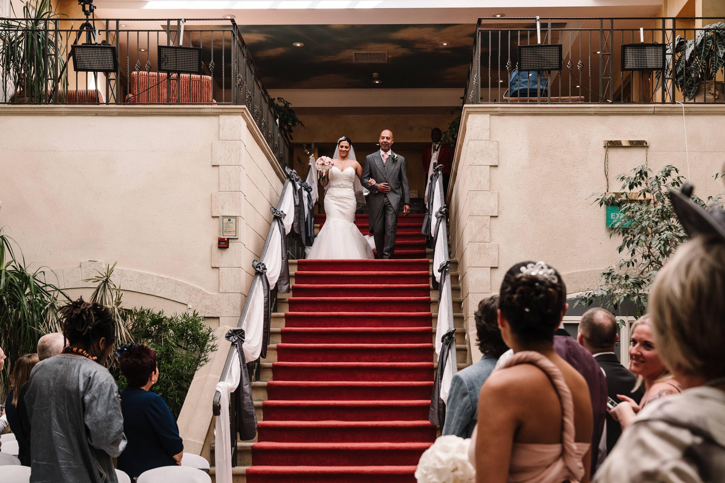 Bride & Dad walking down the aisle at Nailcote Hall wedding
