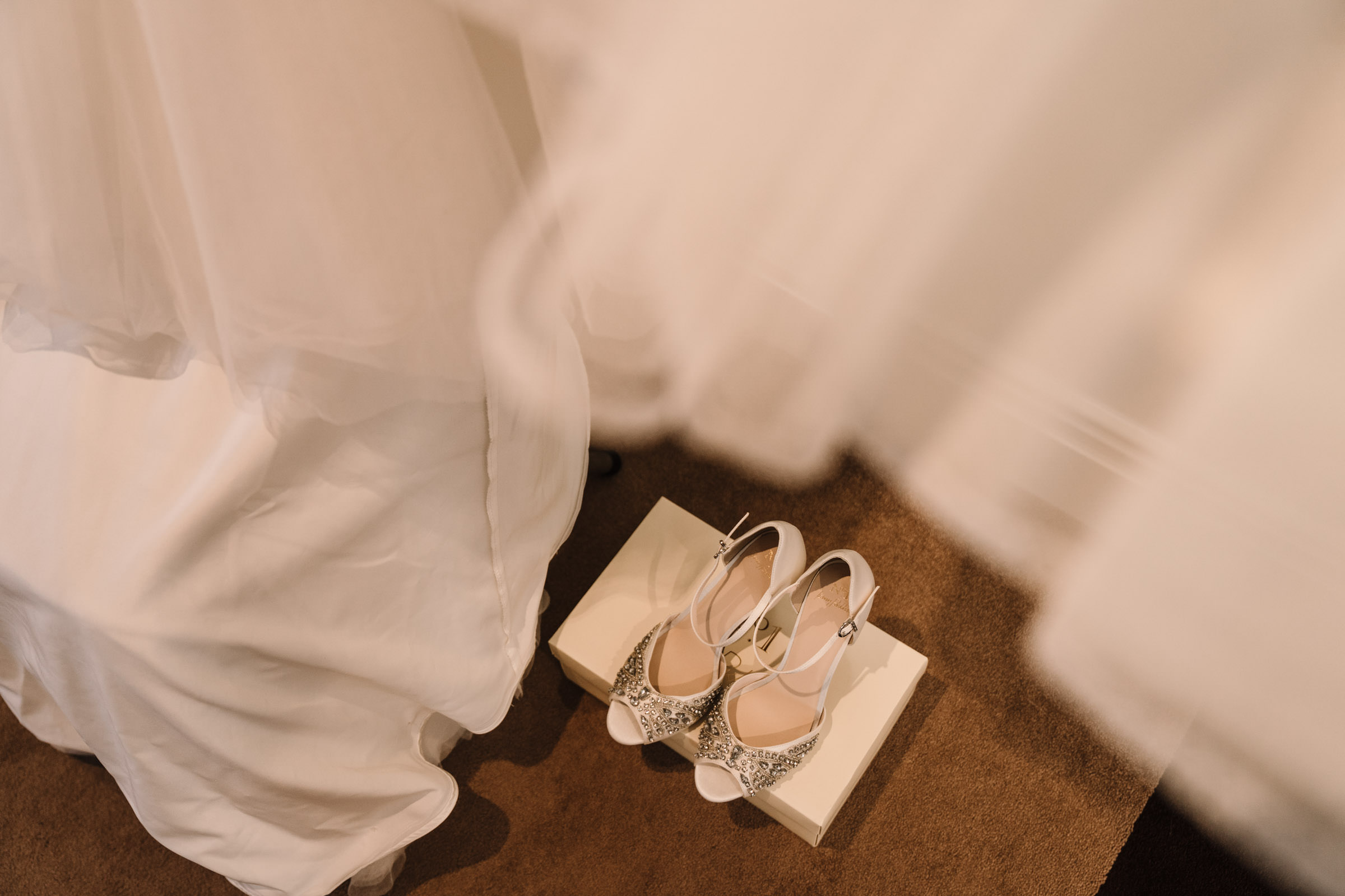 Bride's shoes on a box, Nailcote hall wedding
