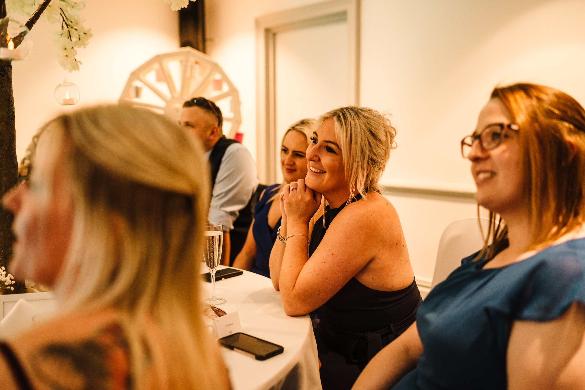 guests listening to speech, nailcote hall wedding