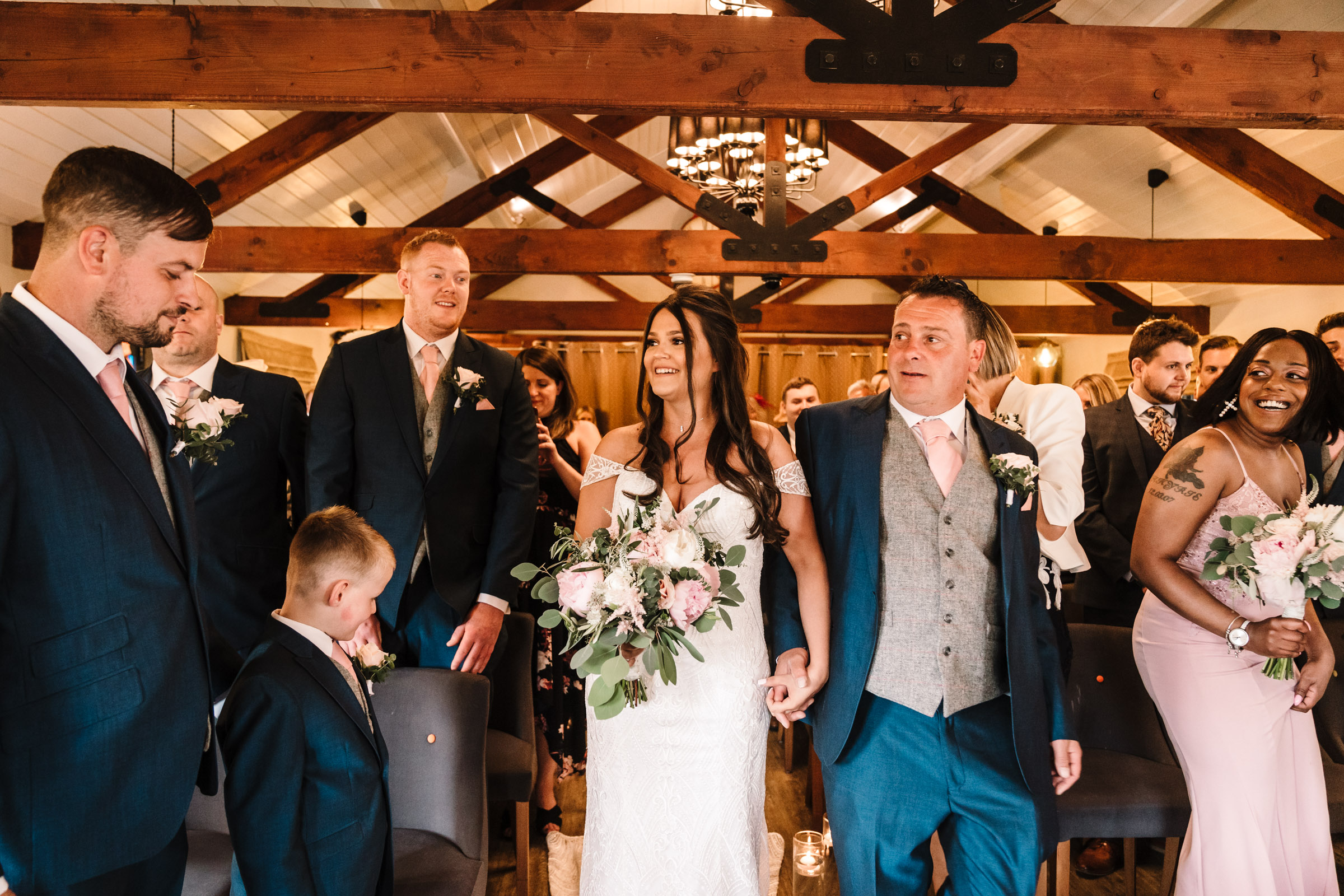 Bride and Dad walking down the aisle, wedding ceremony, royal arms hotel