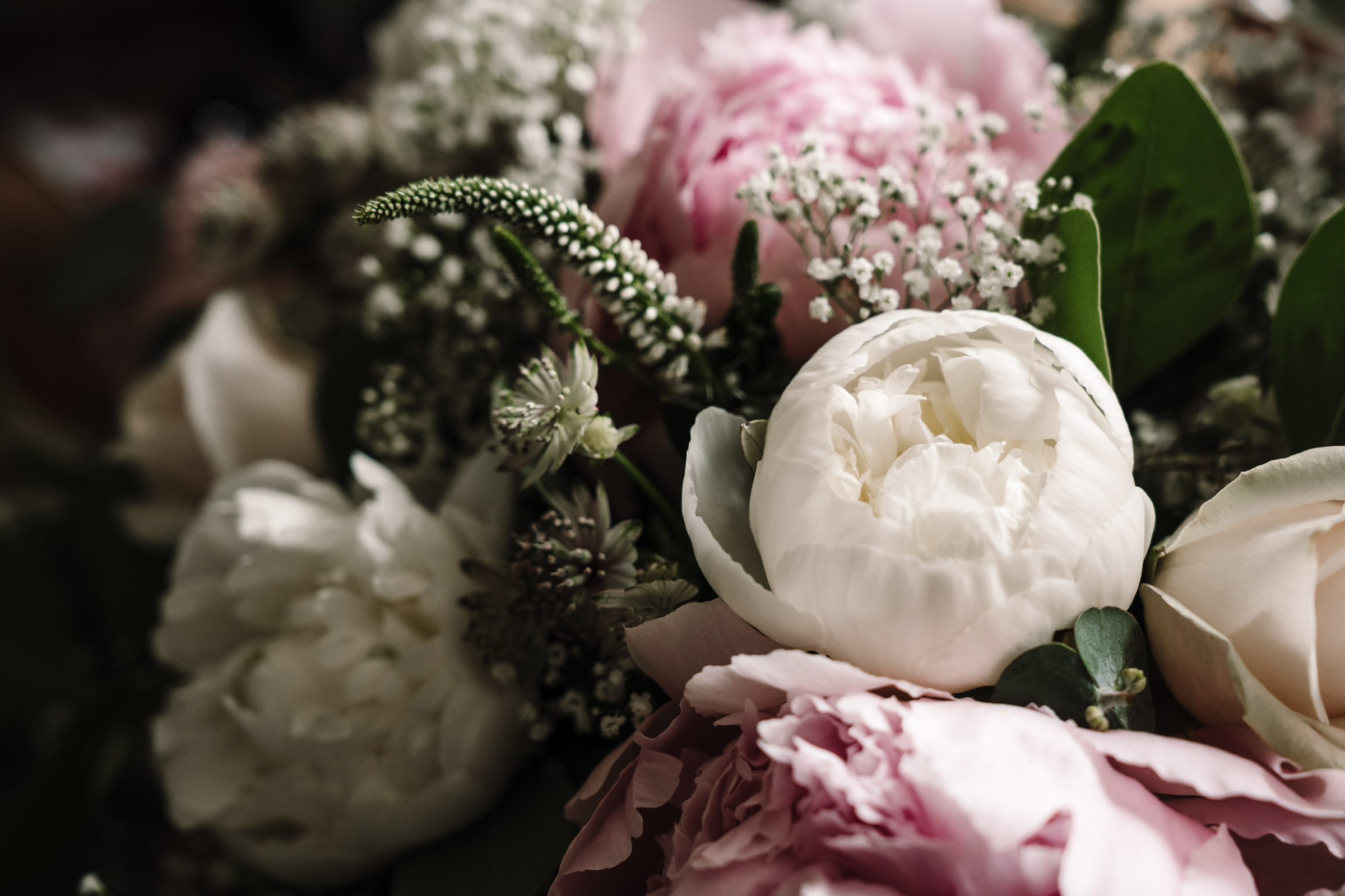 white peony, bridal bouquet