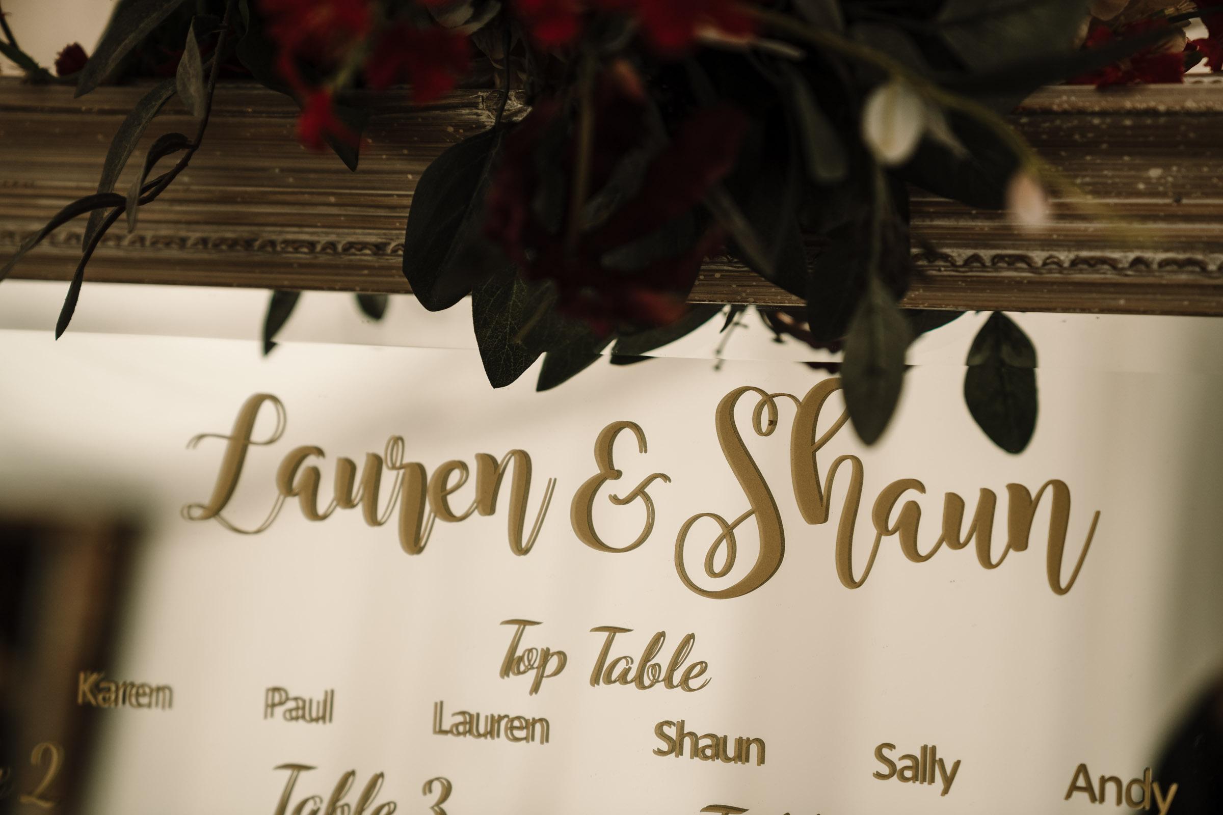 Mirror table plan, royal arms hotel wedding