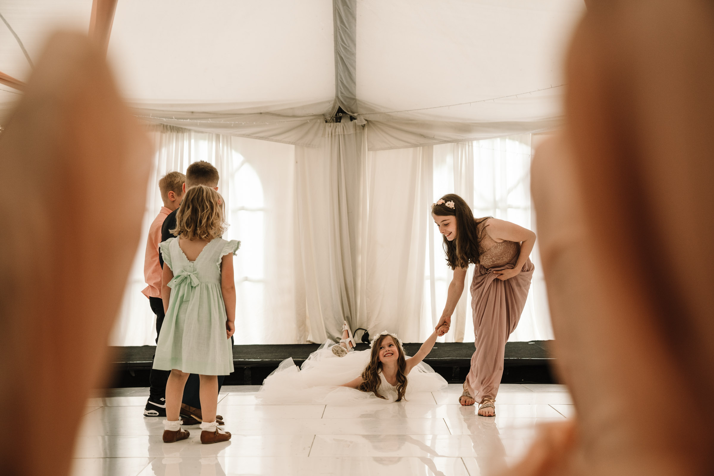 flower girl being dragged round dance floor, royal arms hotel