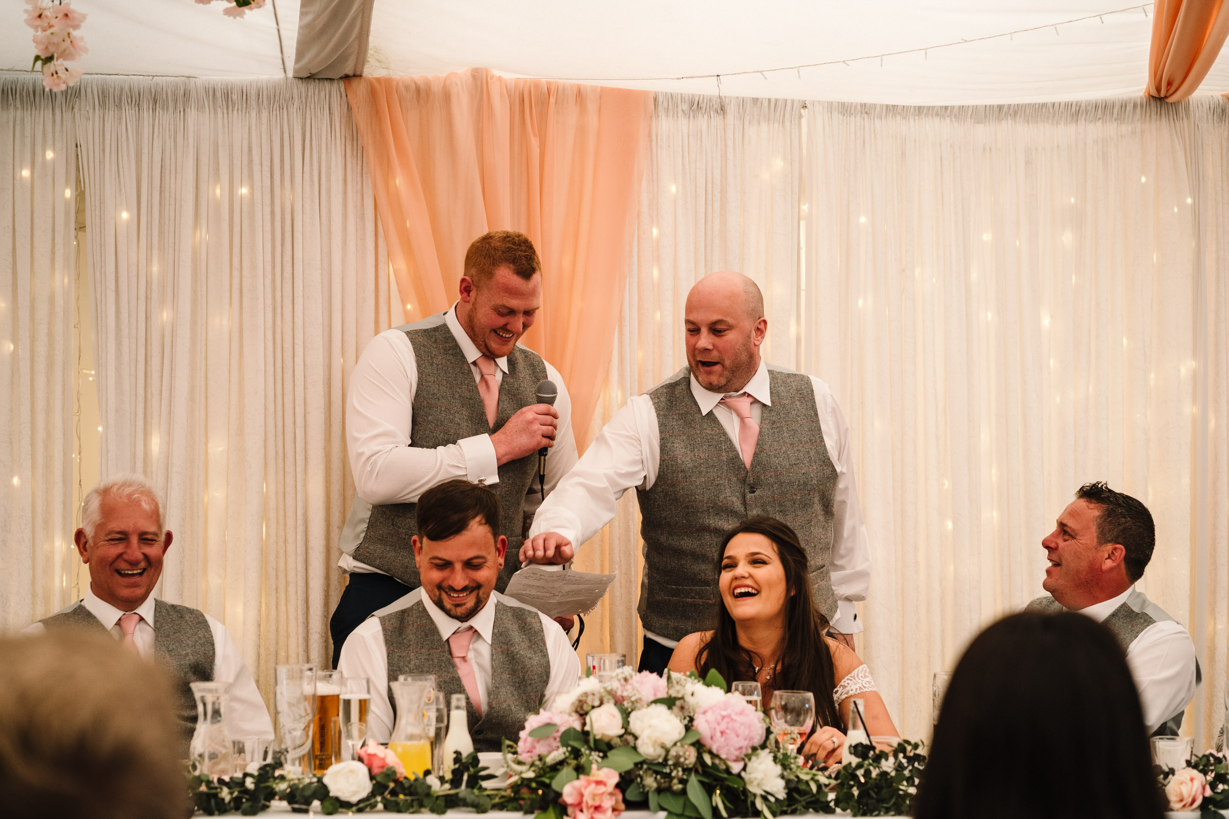 Best men giving speech during wedding breakfast