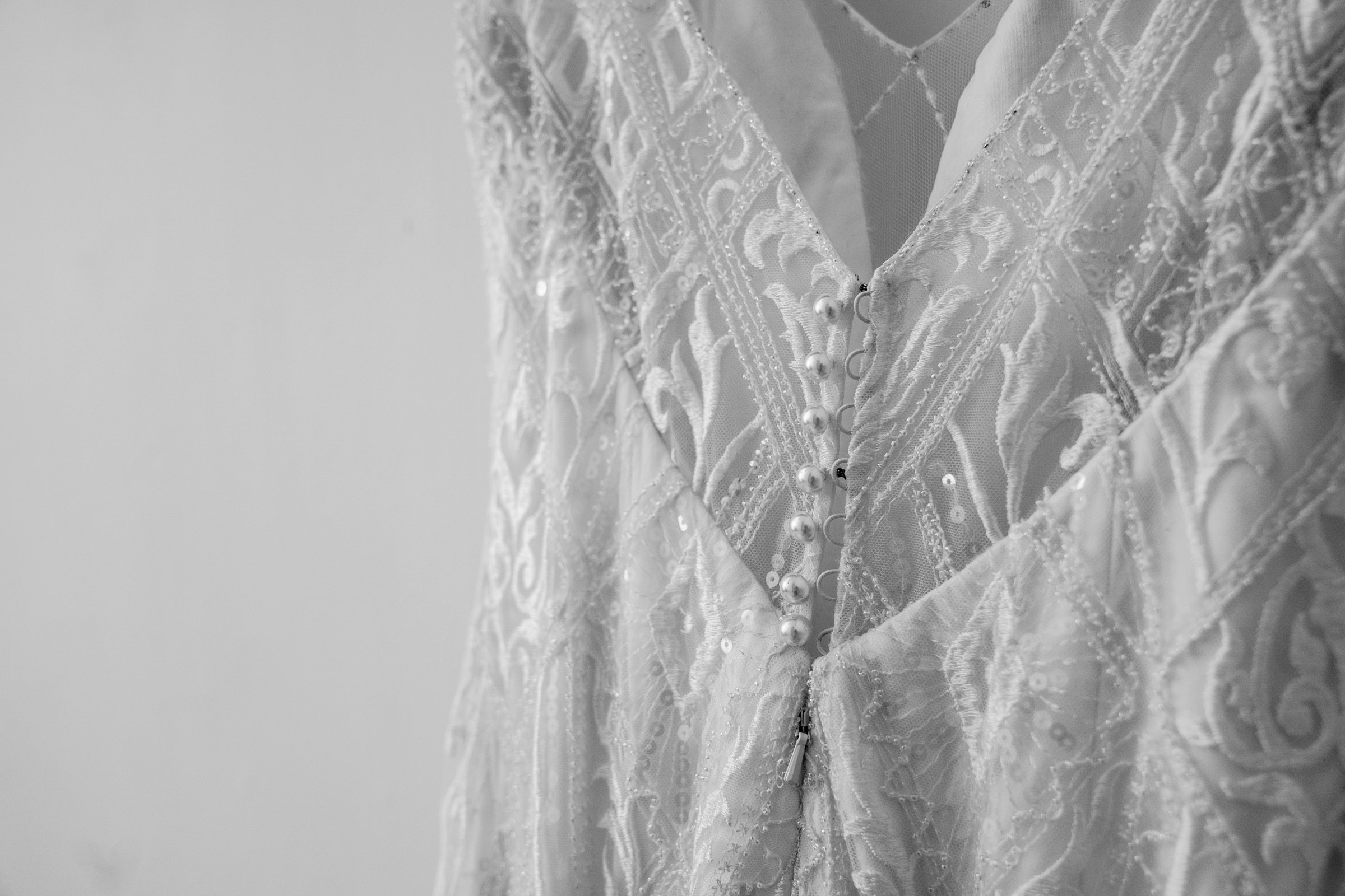 wedding dress details, black and white
