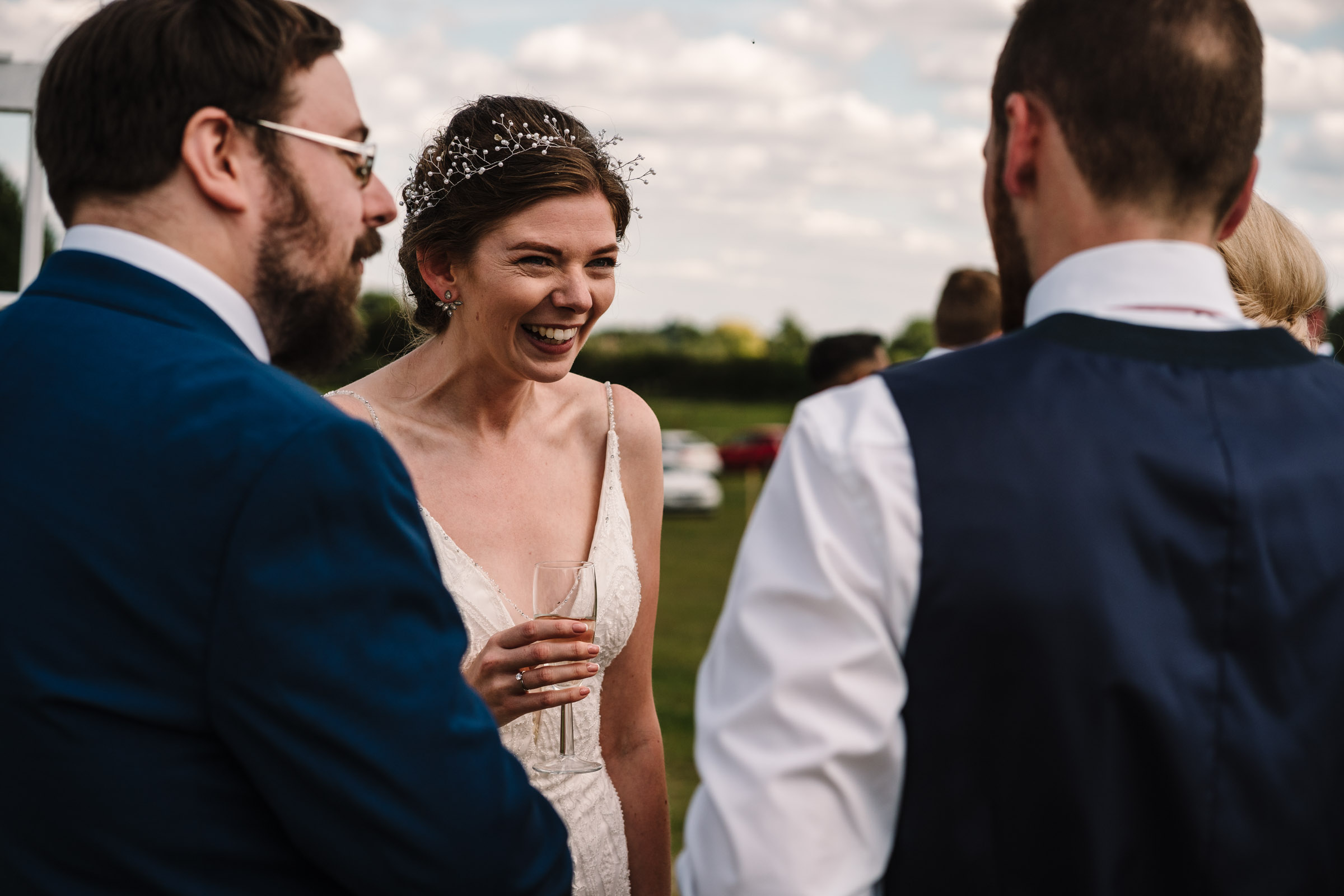 bride laughing at kenilworth wedding