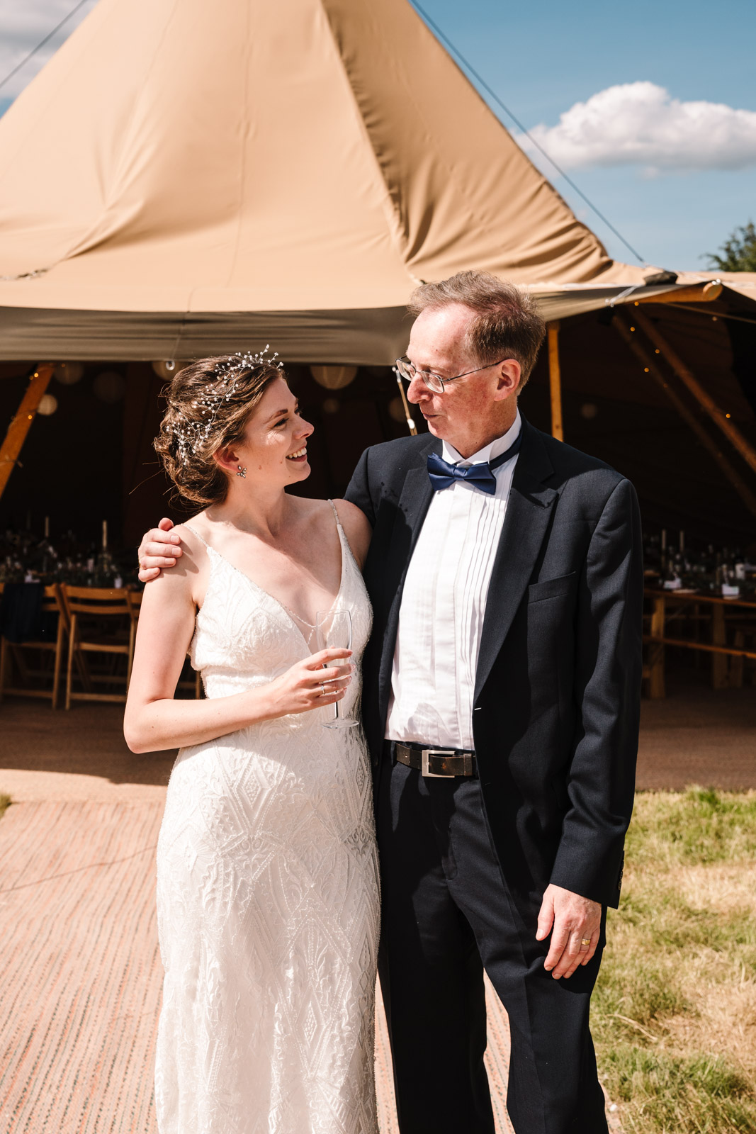 bride and her father, tipi wedding, kenilworth