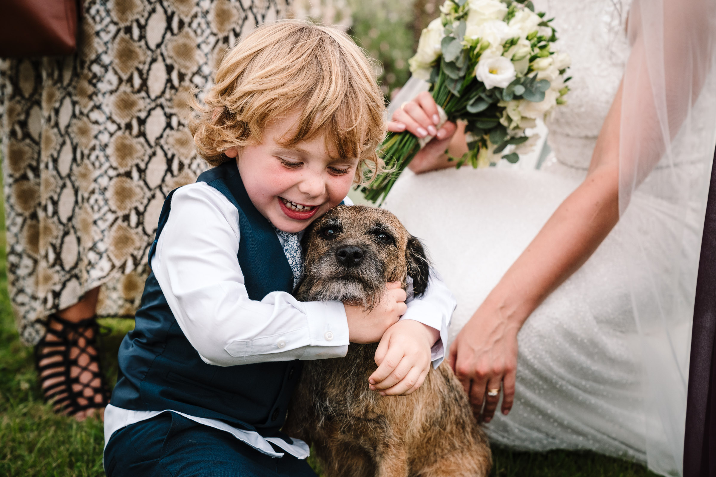 page boy cuddling dog during wedding reception